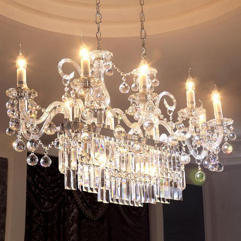 L100cm Rectanglar clear Crystal lighting for dining room Parlor large led candle lamp Restaurant big long