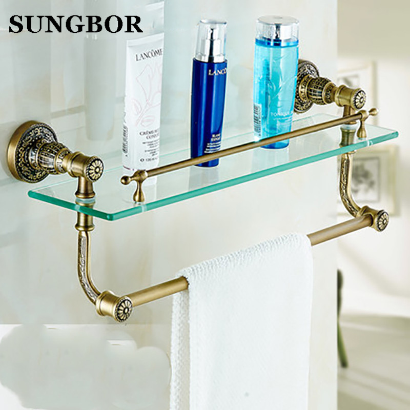 New Antique Brass Bathroom Single-Tier Bathroom Glass Storage Rack Wall Mount Bathroom Shelf with Towel Bar SL-5913F