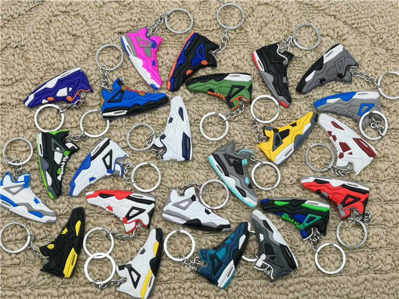 Cute Mini Silicone Jordan 4 AJ Shoes Keychain Bag Charm Woman Men Kids Key Ring Gifts Accessories Sneaker Key Holder Pendant