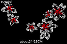 2pc/lot red flower design stone sticker iron on rhinestone motifs hot fix transfer patches for shirt bag