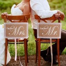 OurWarm Mr Mrs Wedding Chair Signs Burlap Lace Banner Dcoration Rustic Party Decoration
