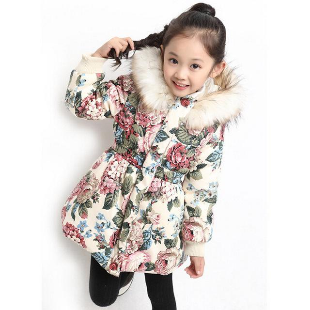 Inverno jaqueta estilo para o projeto das meninas de algodão meninas jaqueta de inverno padrão de flor meninas inverno outwear