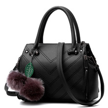 Korean Style Fashion Ladies Elegant font b Handbag b font Wove Pattern Fur Ball Women Casual