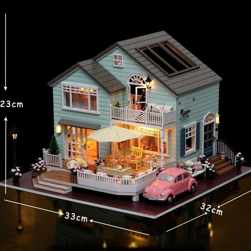 Cutebee DIY миниатюрный дом с мебели светодиодный музыкальный пылезащитный чехол модель строительные блоки игрушки для детей Casa De Boneca - 3