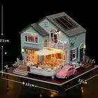 Cutebee bricolage maison Miniature avec meubles LED musique cache poussière modèle blocs De construction jouets pour enfants Casa De Boneca - 3