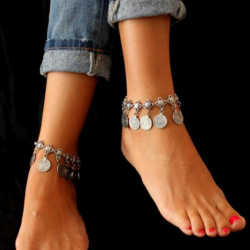 Vintage Antique Silver Retro Coin Anklets For Women Yoga Ankle Bracelet Sandals Brides Shoes Barefoot Beach Gifts