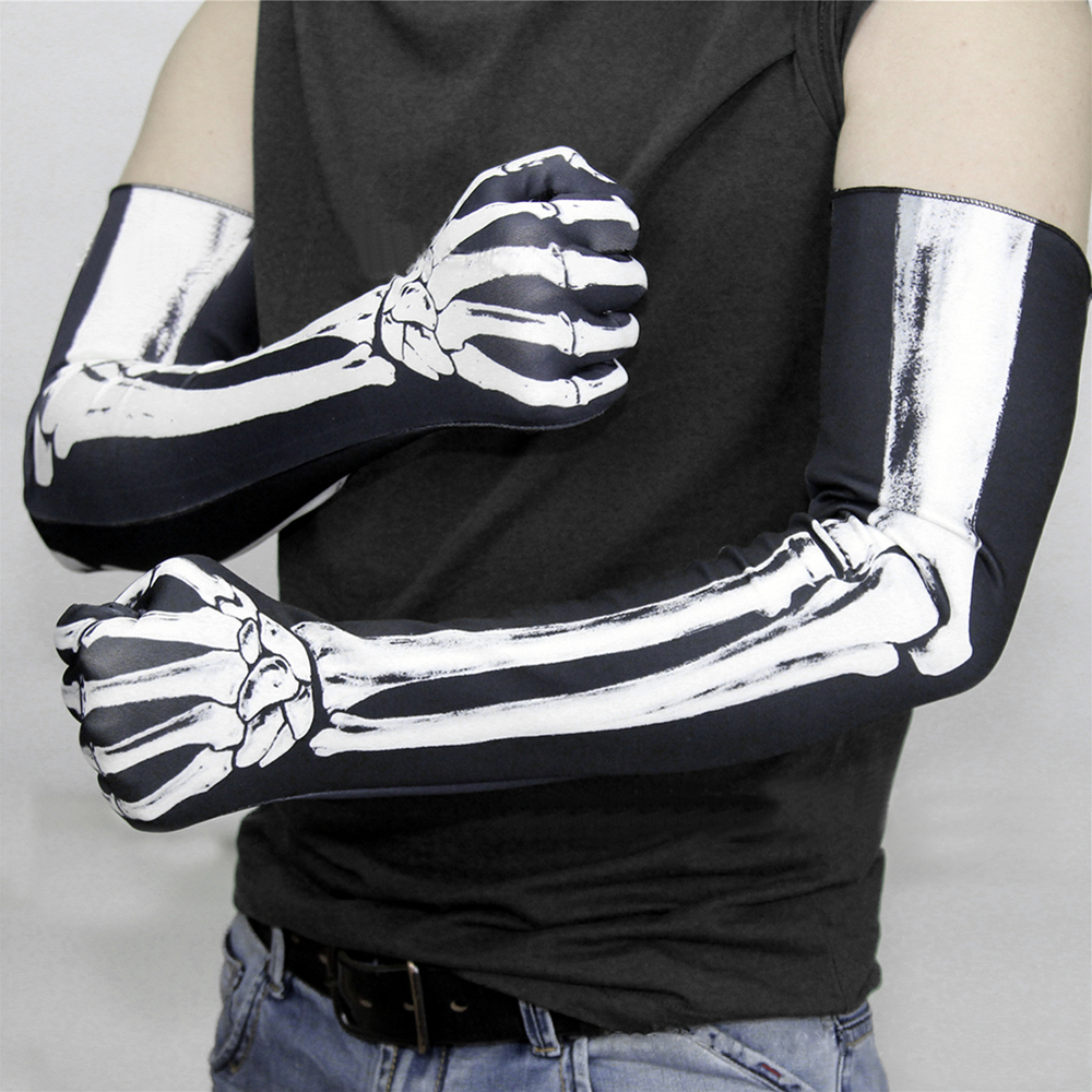 Skeleton Gloves Long Arm Full Finger Horror Gloves Costume Cosplay Skulls Party Halloween Costumes 1 Pair