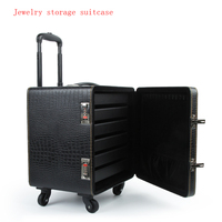 Jewelry Ring Pendant Organizer Jewelry Box Storage Box Jewelry Display Organizer Boarding Rolling Suitcase High Grade PU Leather