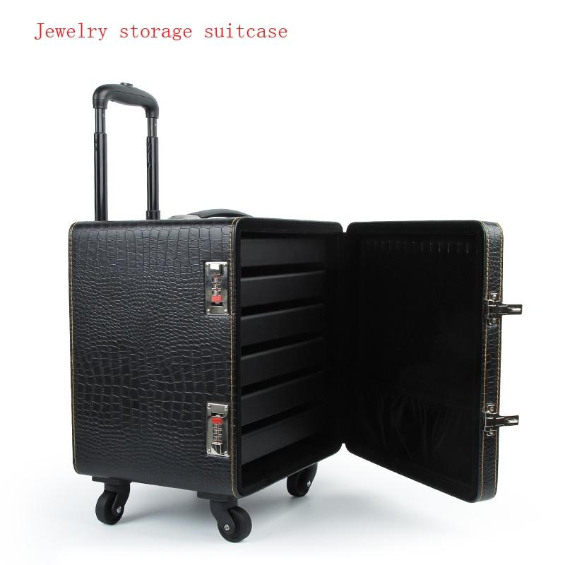 Bijoux anneau pendentif organisateur boîte à bijoux boîte de rangement bijoux affichage organisateur embarquement valise à roulettes haute qualité PU cuir
