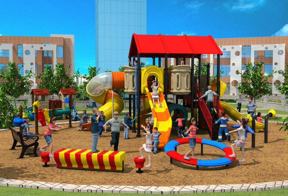 Exporté enfants en plein air en plastique aire de jeux parc enfants chambre paradis installation villa toit jouer équipement YLW-OUT171067