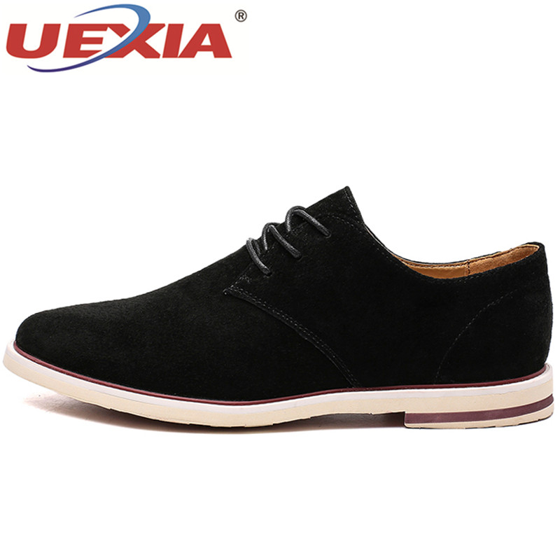 UEXIA Luxury Designer Formal Men Dress Shoes Split Leather Classic Brogue Soild Shoes Flats Oxfords for Wedding Office Business mycolen 2018 high quality business dress men shoes luxury designer crocodile pattern formal classic office wedding oxfords