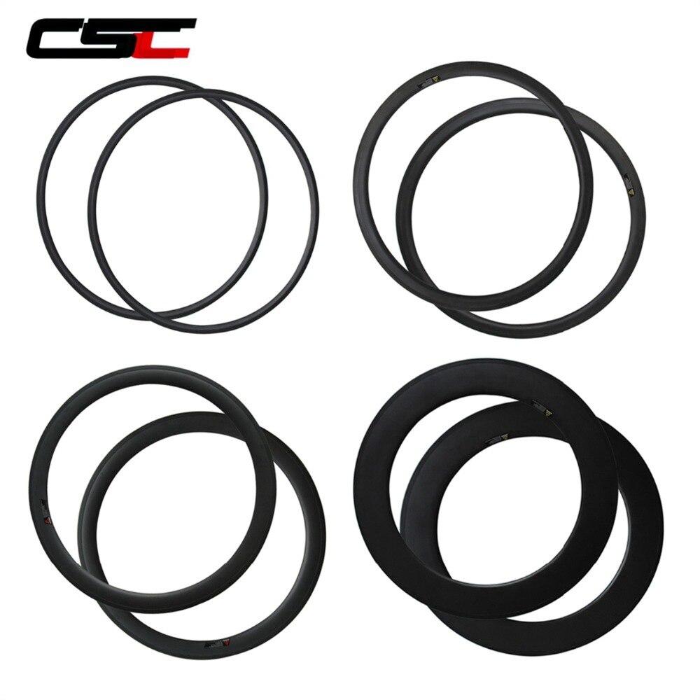700C CSC Carbon Bike Rim 24/38/50/60/88mm Depth Profile Tubular or Clincher Bicycle Rim