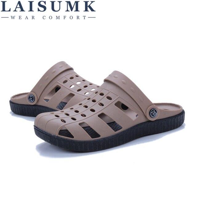 حذاء رجالي صيفي LAISUMK موديل 2020 صندل رجالي برقبة على الكاحل مناسب للشاطئ مصنوع من البلاستيك بتصميم مفرغ ونعال رجالية غير رسمية 4