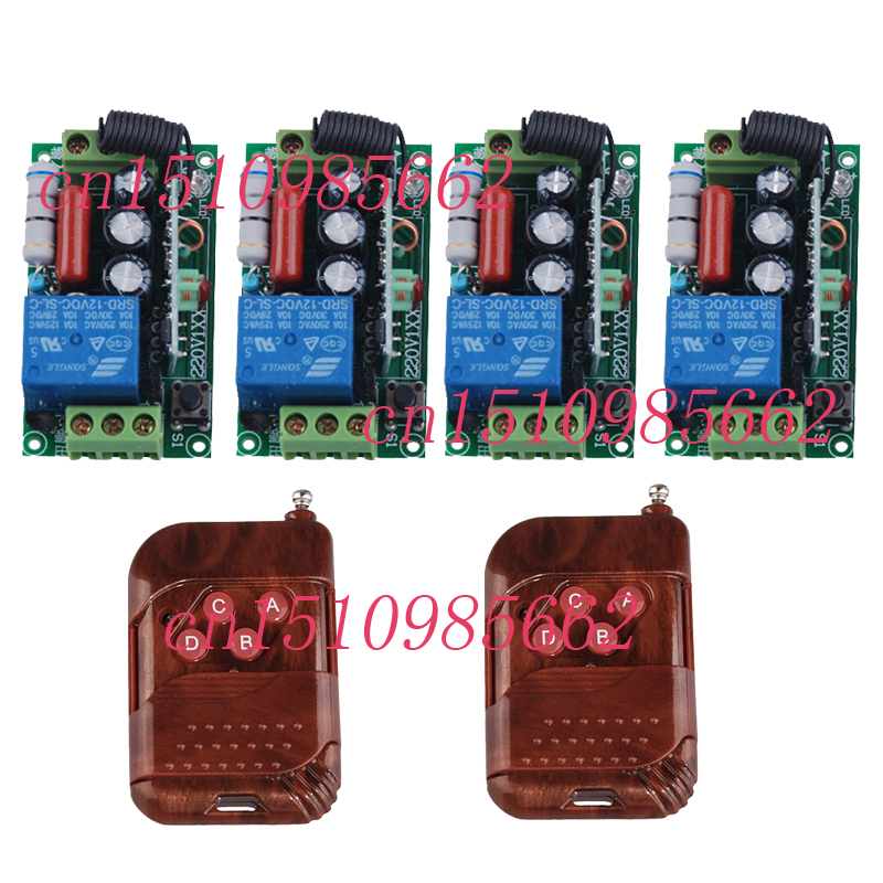 AC220V 1CH 10A Radio Wireless Remote Control Switches 4 Receiver 2 Transmitter Learning Code automation smart home z-wave