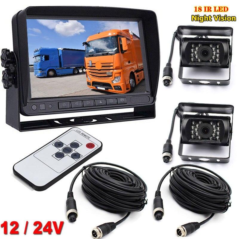 "4Pin 12V 24V 7"" TFT LCD Car Monitor +2x 18LEDs Night Vision Waterproof Backup Reverse Rear View Camera for RV Truck Bus Trailer|Vehicle Camera| |  - title="