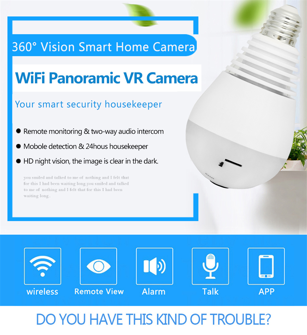 Wistino 960P Wireless VR Panoramic IP Camera Bulb Light Wifi FishEye 360 degree CCTV Surveillance Security Monitor Comone 1 (3)