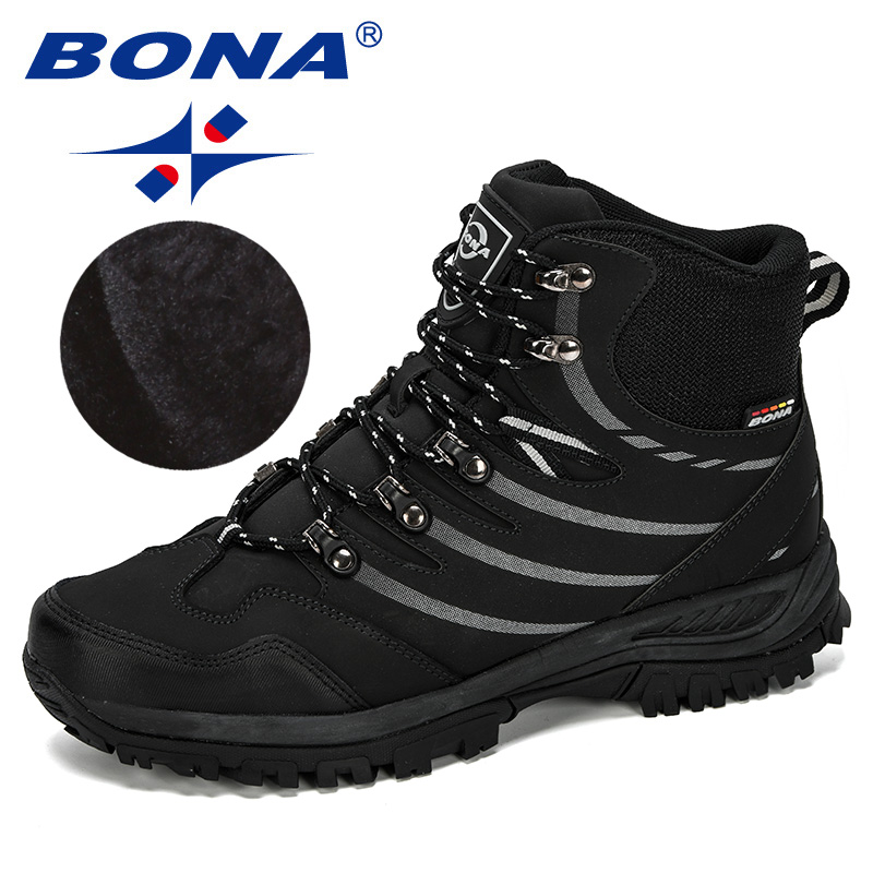 Image 3 - BONA 2019 New Designer Hiking Shoes Men Cow Split Plush Boots Man Mountain Climbing Shoes Outdoor Sport Shoes Trekking Sneakers-in Hiking Shoes from Sports & Entertainment
