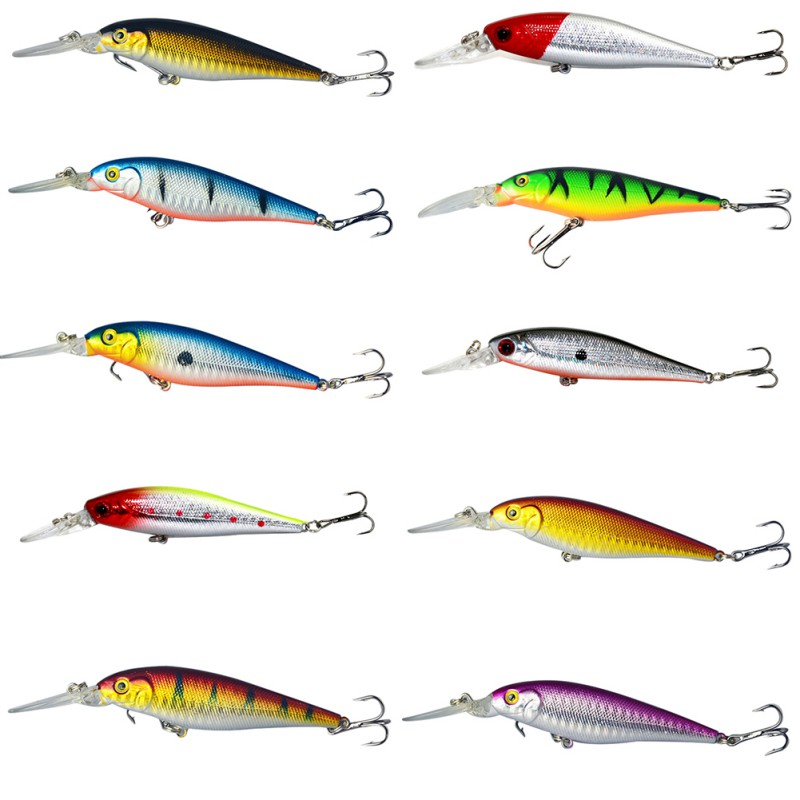 1PCS 10 Colors Artificial Hard Bait Professional Minnow Fishing lures crankbait 6# hook 3D eyes High Quality Fishing Lover wldslure 1pc 54g minnow sea fishing crankbait bass hard bait tuna lures wobbler trolling lure treble hook