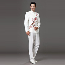 Tang Suits Performance Chorus Stage Man Clothing retro Chinese style host tunic suits Coat + Pants Red White men's Unique wear stage performance show clown style mask white red
