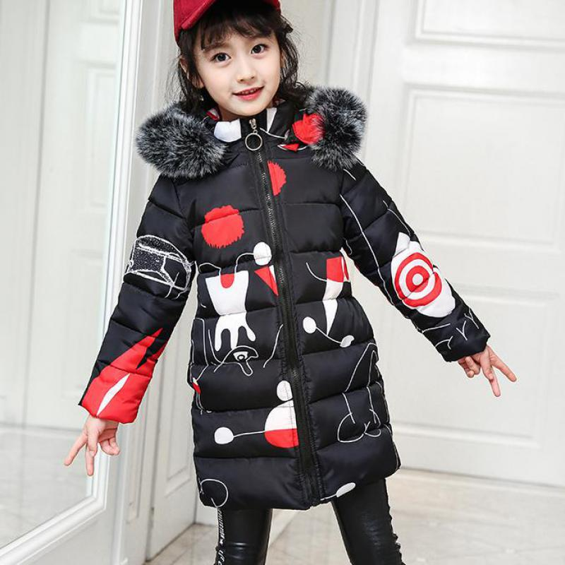 2018 Baby Girls Winter Cotton Down Parkas Cute Design Toddler Girls Thick Warm Jackets Snowsuits Kids Cotton-padded Parka Down hot man fashion warm parkas size m 3xl patchwork design cotton padded young men winter down jackets parka windproof top quality
