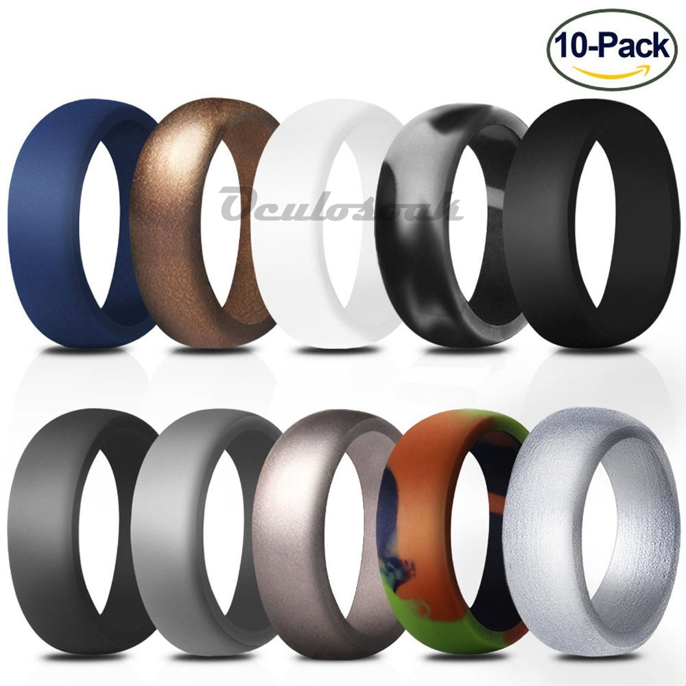 DD 10pcs set Fashion Silicone Ring Hypoallergenic Crossfit Flexible Rubber Finger Ring Men Women Engagement Wedding Rings in Rings from Jewelry Accessories