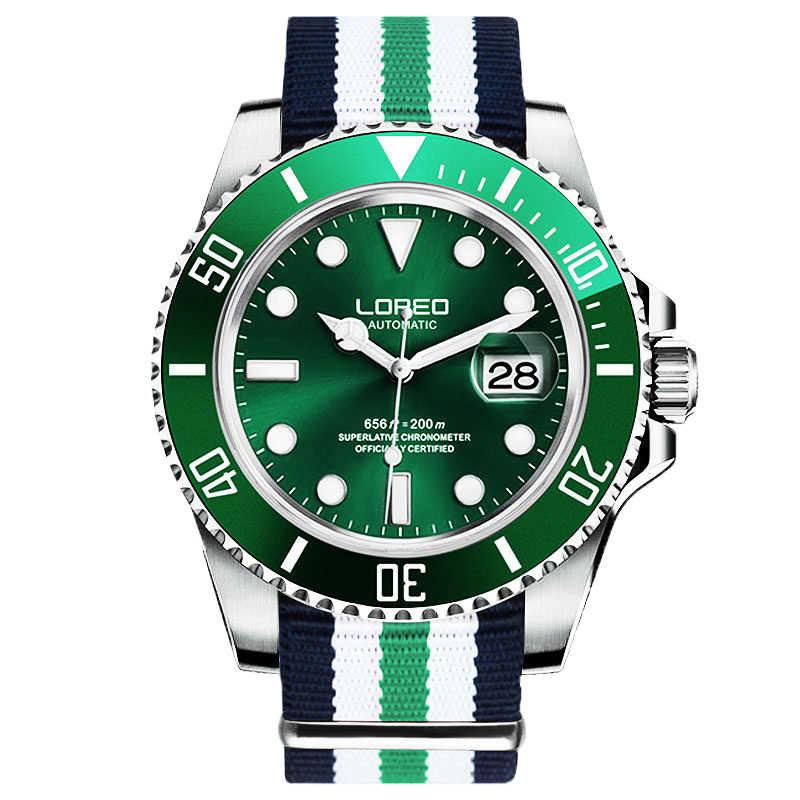 LOREO 高品質の男性の腕時計トップブランドの高級サファイア 200 メートル防水軍が男性自動機械式腕時計