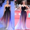 Prom Dress Vestidos Новый Градиент Ombre Шифоновое Вечернее Dress Без Бретелек С Складки Женщины Dress 2017