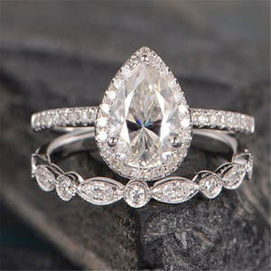 Pear-Shape Zircon Engagement-Ring Couple Finger Silver-Color Women Best-Gift for 2pcs/Set