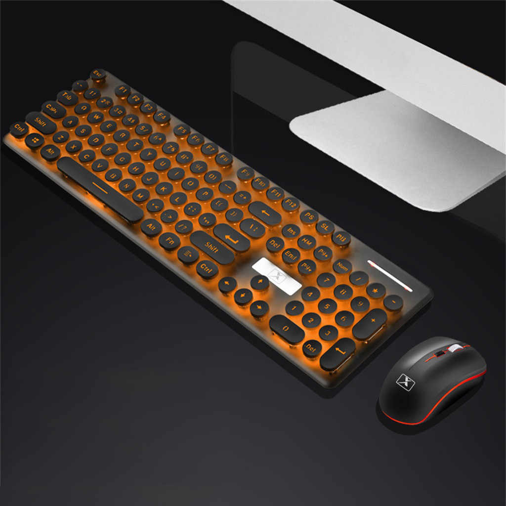2.4G Ultra-Tipis Optik Wireless Keyboard dan Mouse Pengisian Wireless Mechanical Keyboard dan Mouse Set Bulat Keycap Keyboard