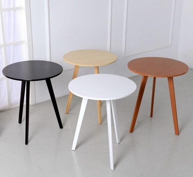 Desain Modern Meja Teh Kopi Kayu Samping Bulat Minimalis Ruang Tamu Sofa Kerajinan