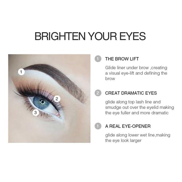 MENOW Brand White Eyeliner Makeup Smooth Easy to Wear Eyes Brightener Eye Liner Pen Waterproof Make Up White Eyes Liner Pencils 3