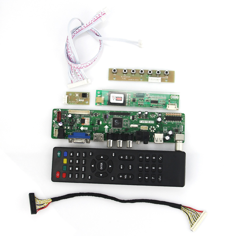 T.VST59.03 LCD/LED Controller Driver Board For LTN154X3-L03 LP154W01 (TV+HDMI+VGA+CVBS+USB) LVDS Reuse Laptop 1280x800 lcd led controller driver board for b156xw02 ltn156at02 t vst59 03 tv hdmi vga cvbs usb lvds reuse laptop 1366x768