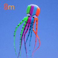 free shipping High quality 8M Octopus fashion flying kite outdoor toys discount flying adults with handle line love