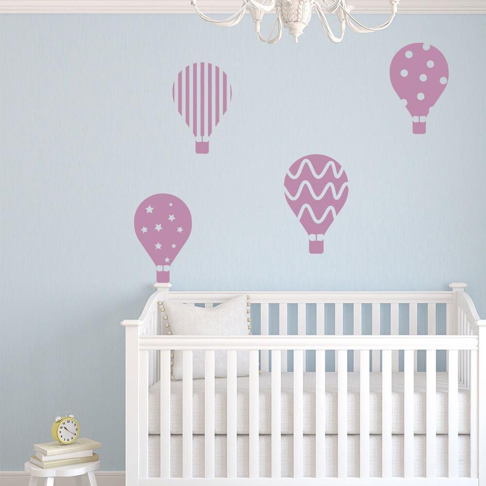 Hot Air Balloon Vinyl Wall Stickers Set Transport Wall Decal Kids Bedroom  Home Decor Diy Self