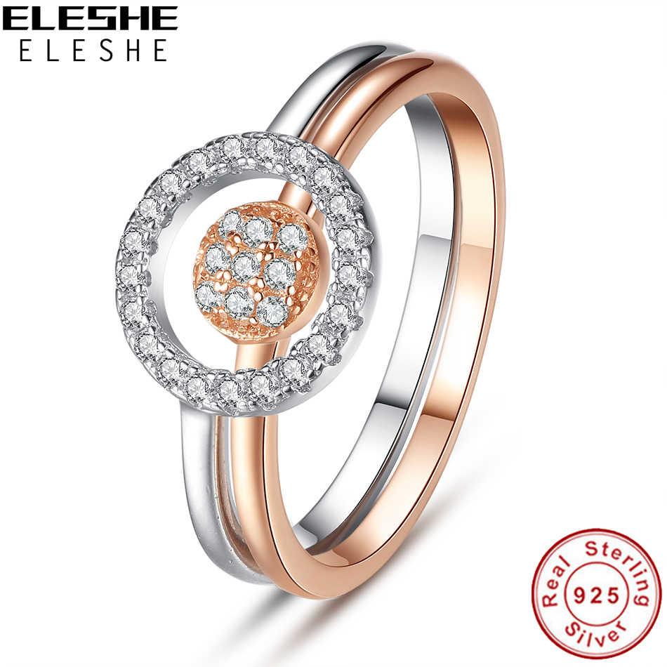 ELESHE แฟชั่น 925 เงินสเตอร์ลิงแหวนผู้หญิง Rhinestone วงกลมหัวใจแหวนแหวนหมั้น Rose Gold เครื่องประดับ