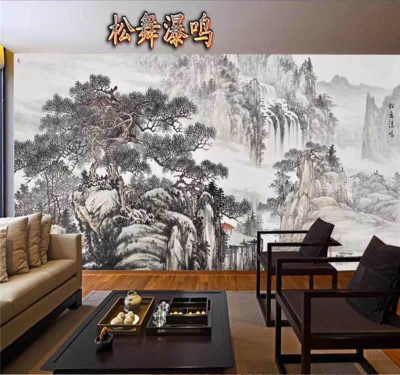 Custom Wallpaper Feng Shui Painting Water And Aquatic Ink Painting Background Wall Decoration - High-grade Waterproof Material