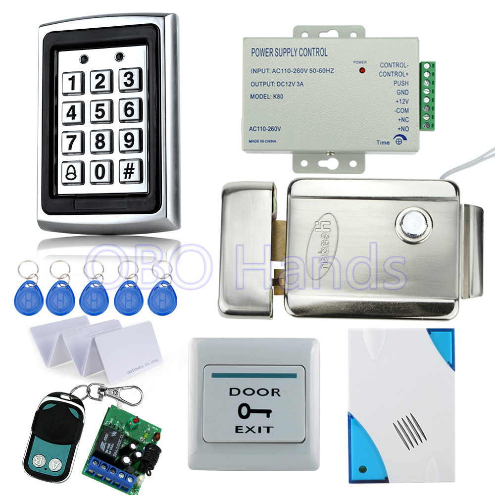 Hot sale metal access controller 7612+electric control lock+power supply+exit button+door bell+10pcs key cards+remote control diy lock system metal keypadl k2 electric control lock 3a power supply exit button 10pcs key cards wireless remote control