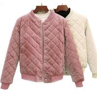 Autumn Winter Women Short Cotton Coats Warm Thicken Velvet Parka Jackets Students Baseball Outerwear Solid Bombers Tops AB756