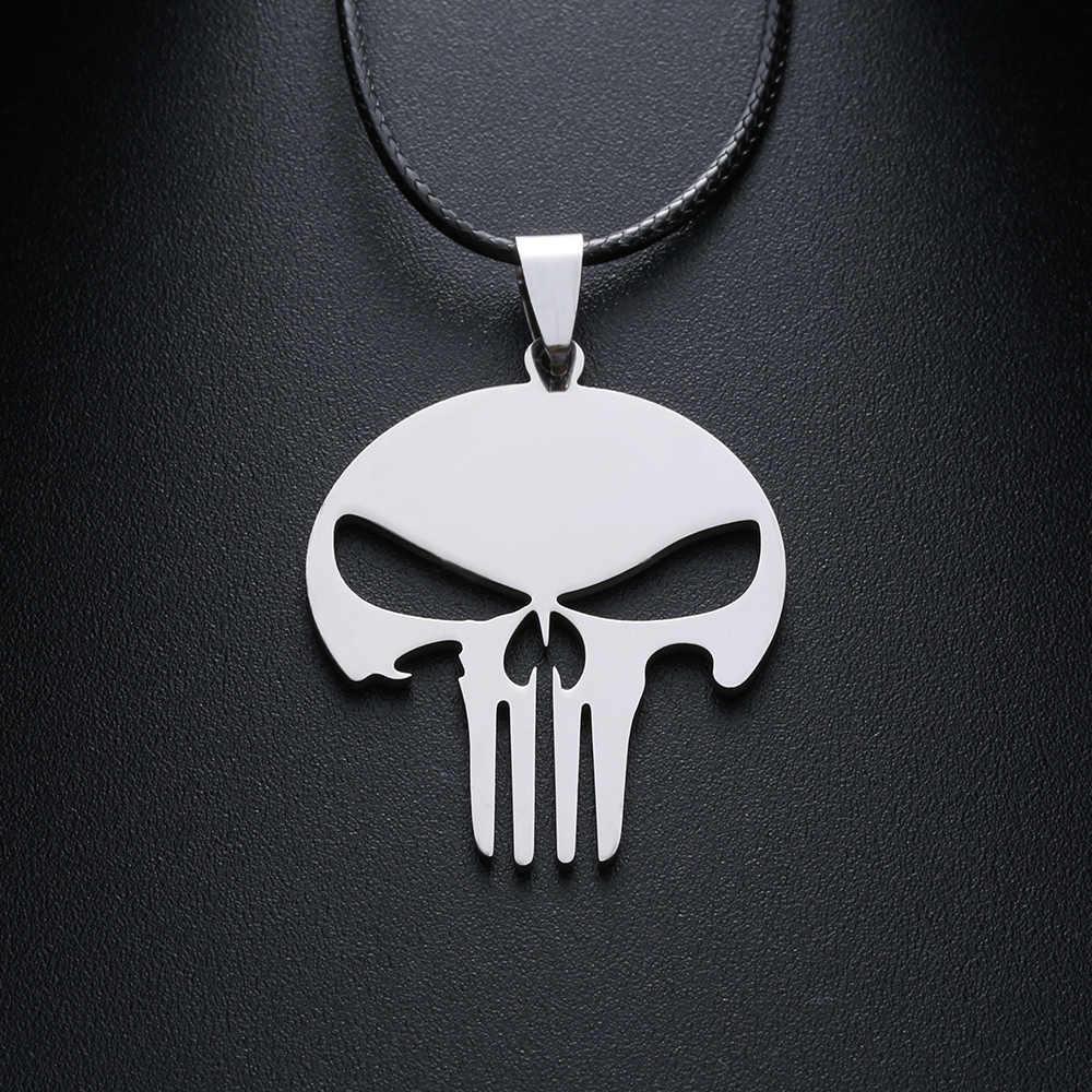 1 Pc najnowszy moda mężczyźni szkielet czaszka głowa ze stali nierdzewnej srebrny Tone naszyjnik komunikat biżuteria Punk fajny miły prezent