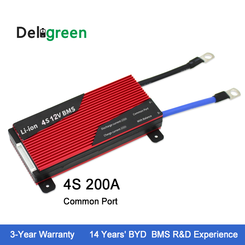 Deligreen 4S 200A 12V PCM PCB BMS for LiFePO4 battery pack 18650 Lithion Ion Battery Pack lto battery bms 5s 12v 80a 100a 200a lithium titanate battery circuit protection board bms pcm for lto battery pack same port