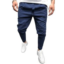 2019 Spring New Fashion Mens Casual Suit Pants Streetwear Stripes Slim Fit Trousers Male