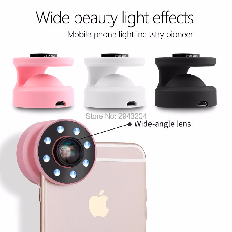 Selfie Up LED Light Phone Lens w/  Flash Light Camera Wide Angle Lens Enhancing Photography For iPhone Samsung Sony