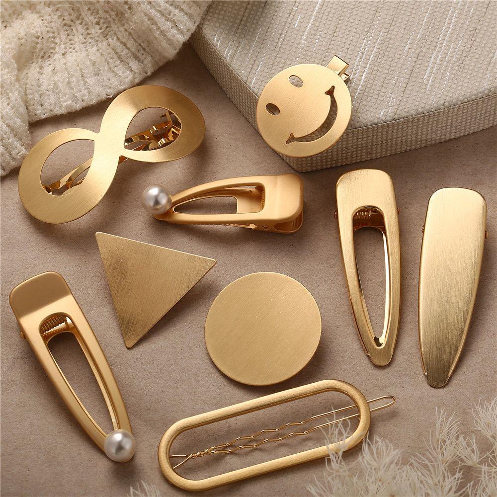 Fashion Women Hair Clip Positive Infinity Gold Barrette Hairpins Charm NICA
