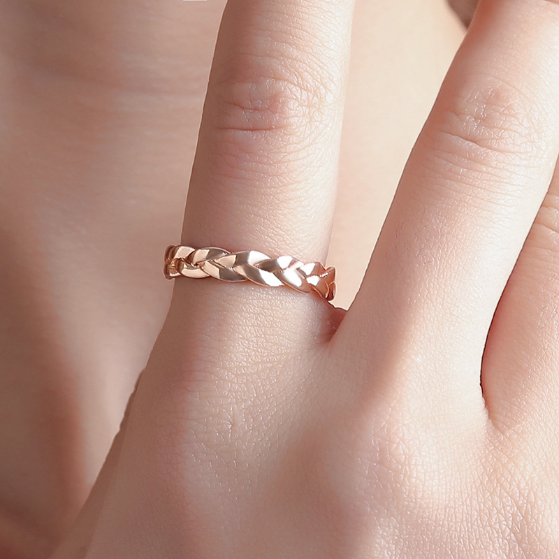 Fashion Creative Twist Gold Silver Ring Simple Minimalist Vintage Winding Wedding Rings for Women Female Knuckle Engagement Ring
