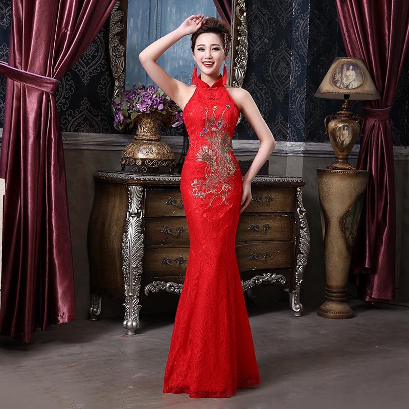 Rouge Sexy dos nu femmes Qipao longueur de plancher mince scène spectacle licou Cheongsam dentelle mariée orientale robe de mariée robes de sirène