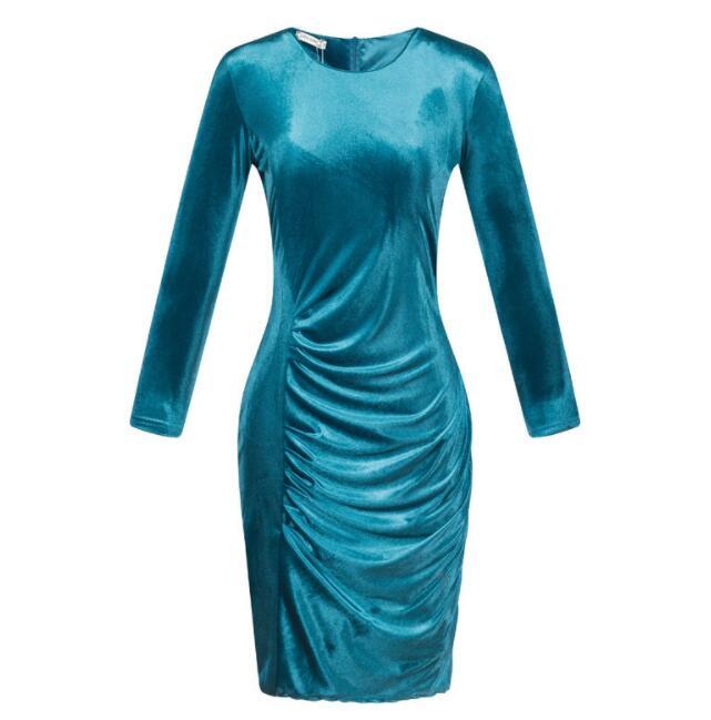 Women's Autumn Spring Dresses Robe Sexy Midi Sheath Slim Bodycon Dress Long Sleeve Elegant Package Hip Dress