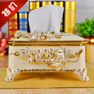 Ceramic tissue boxes, luxury luxury European style cartons, pastoral palace, retro napkin boxes, home decoration
