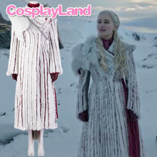 Game of Thrones Season 8 Halloween Party Costumes Daenerys Targaryen Cosplay Costume Sets for Adult Women Cloak Winter Dresses game of thrones melisandre red dress cloak cosplay costumes women dresses cape scarf party halloween christmas red women uniform