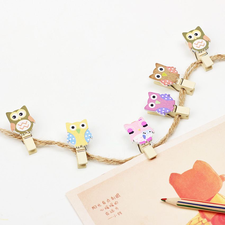 10PCS Kawaii Mini Owl Wooden Clip Peg Pin Decorative Clothespins With Rope Home Organization Crafts Wooden Postcard Clips