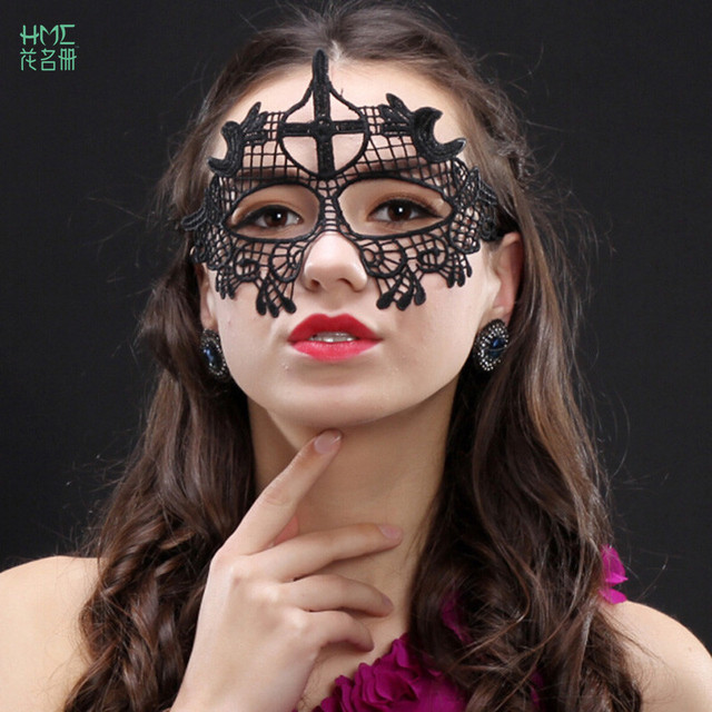 2pcs/bag Black Halloween Costume Party Lace Masks Sexy Women Black ...